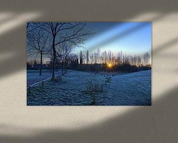 Kalter Sonnenaufgang im März von Frank Amez