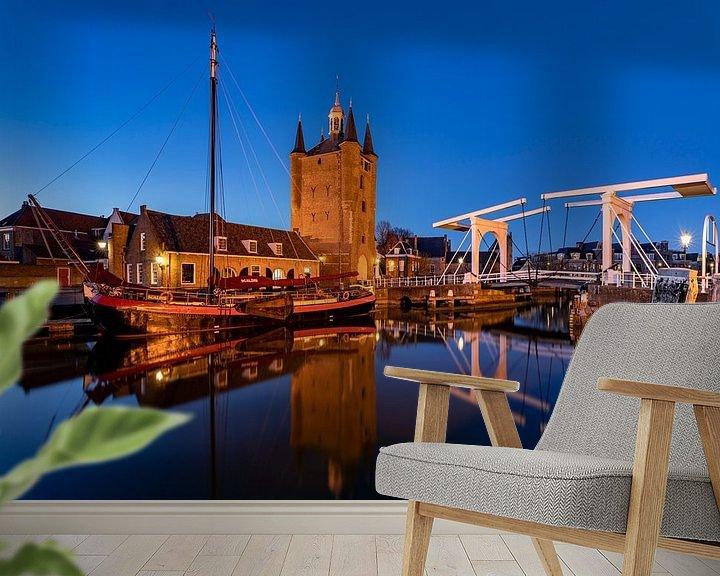 Sfeerimpressie behang: Avond in Zierikzee, Nederland van Adelheid Smitt