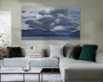 Paysage - Ciel orageux sur le lac et les montagnes - Nouvelle-Zélande - Peinture sur Schildersatelier van der Ven