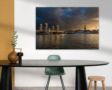 Stadsfront van Kampen in het gouden uur van Fotografie Ronald
