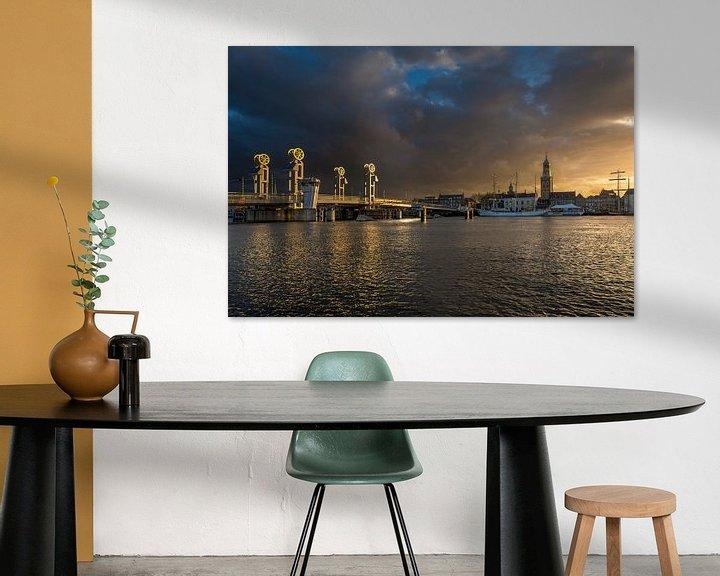Sfeerimpressie: Stadsfront van Kampen in het gouden uur van Fotografie Ronald