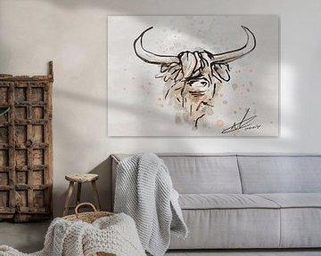 Schottischer Highlander - robustes Artwork mit kräftigen schwarzen Tintenlinien von Emiel de Lange