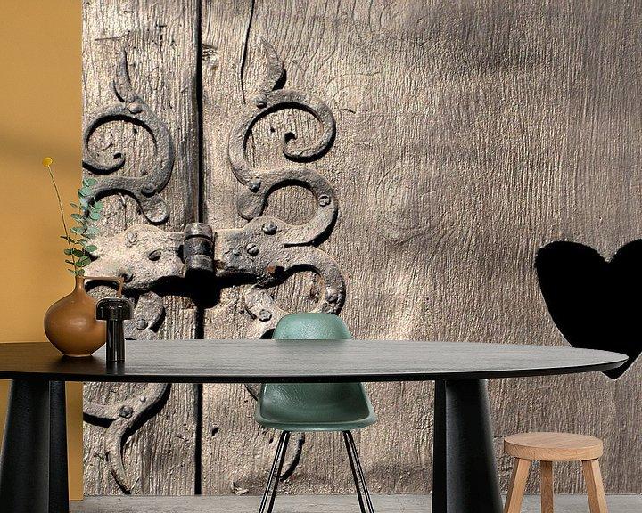 Sfeerimpressie behang: historisch houten vensterluik in Quedlinburg van Heiko Kueverling