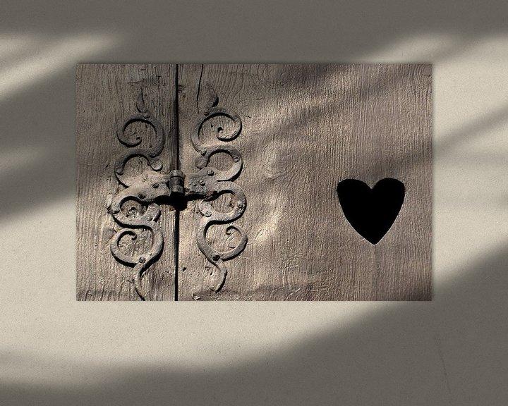 Sfeerimpressie: historisch houten vensterluik in Quedlinburg van Heiko Kueverling