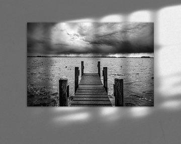 Hölzerner Steg am Ufer eines Sees von Sjoerd van der Wal