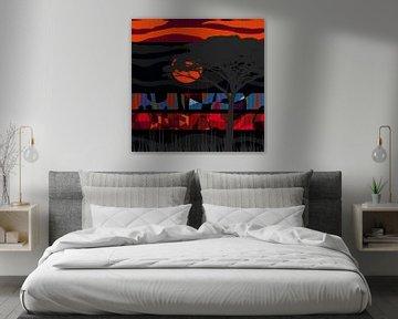 Arbre du désert avec coucher de soleil