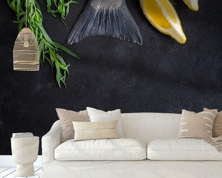 Sfeerimpressie behang: Vissenstaart, dragon, citroen l Food Fotografie van Lizzy Komen