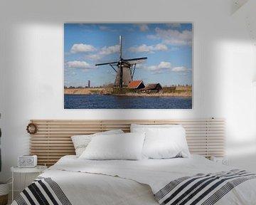 Hollands landschap molen Kinderdijk close van Leontien Adriaanse