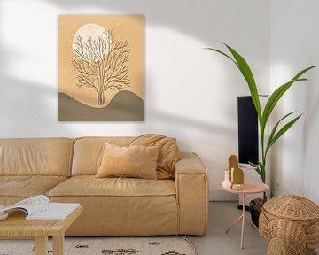 Minimalistische landschapskunst met een boom en een zon