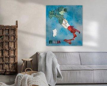 Kaart van Italië hout van Rene Ladenius Digital Art