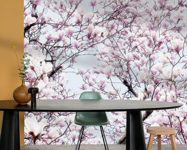 Sfeerimpressie behang: Magnoliabloesem lentebloesem I van Jessica Berendsen