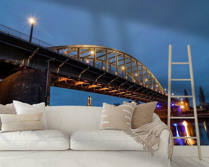 Beispiel fototapete: John-Frost-Brücke in Arnheim bei Dunkelheit von Patrick Verhoef