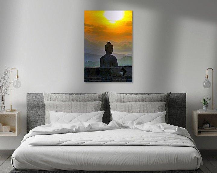 Sfeerimpressie: Silhouet Buddha bij zonsondergang van Eduard Lamping