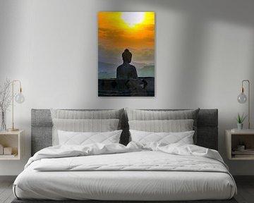 Silhouette Buddha bei Sonnenuntergang von Eduard Lamping