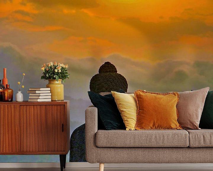 Sfeerimpressie behang: Silhouet Buddha bij zonsondergang van Eduard Lamping