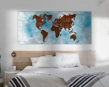 Werldkaart hout 3D van Rene Ladenius Digital Art