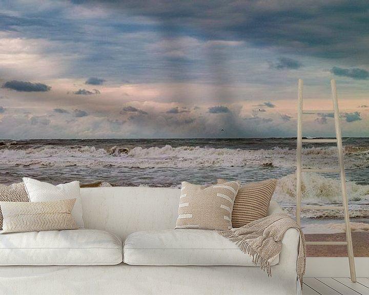 Sfeerimpressie behang: De zee aan het strand van Texel van Marc Wielaert