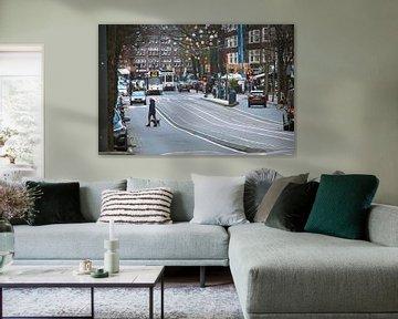 Drukke  straat in Amsterdam