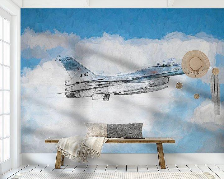 Beispiel fototapete: F16 skizziert und lackiert von Arjen Roos