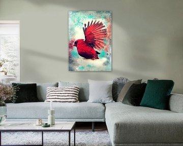 kardinaal vogel aquarel kunst #kardinaal van JBJart Justyna Jaszke