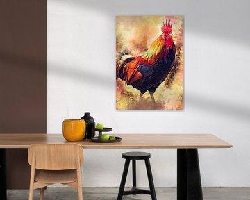 Hahn Vogel Aquarell Kunst #Hahn von JBJart Justyna Jaszke