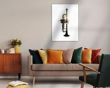Trompete Musikinstrument schwarz und gold Kunst #Trompete von JBJart Justyna Jaszke
