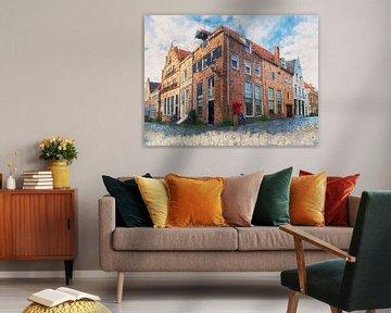 Deventer Ecke Bergstraat und Bergkerkplein gemalt von Arjen Roos