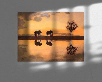 Malen mit afrikanischen Elefanten bei Sonnenuntergang