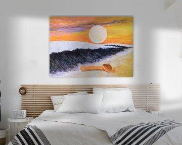 Moderne Kunst Gemälde mit Person am Strand