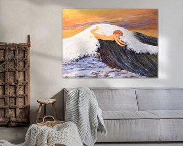 Moderne Kunst Gemälde mit Person auf einer Welle