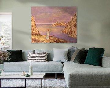 Gemälde mit Frau, Küste und Meer