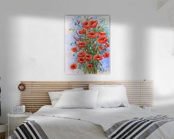 Malen mit schönen roten Mohnblumen