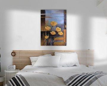 Malerei mit gelben Frühlingsblumen