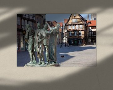 """""""Die Münzenberger Musikanten"""" – Skulptur auf dem Marktplatz der Welterbestadt Quedlinburg (Sachsen-A von t.ART"""