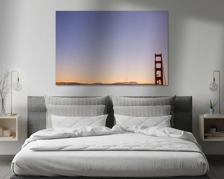 Sfeerimpressie: Golden Gate Bridge San Francisco zonsondergang van Erwin van Oosterom