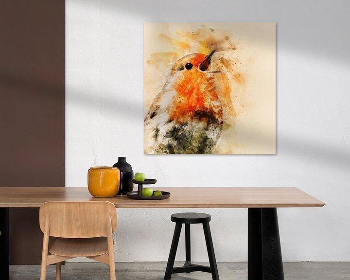 Sfeerimpressie: Roodborstje zingt het hoogste lied (waterverf) van Art by Jeronimo