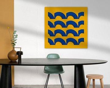 geel en blauw vlakverdeling van Corrie Ruijer