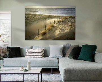 Strand, zee en zon op een stormachtige avond! van Dirk van Egmond