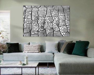 Abstract droog zand patroon in zwart wit van Lisette Rijkers