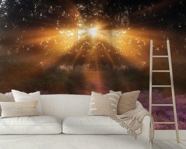 Sfeerimpressie behang: Zonnestralen boven de paarse heide van Monique van Genderen (in2pictures.nl fotografie)