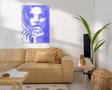 Kate MOSS Blauw van Kathleen Artist Fine Art