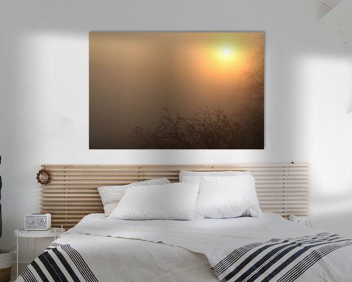 Sfeerimpressie: Zonsopkomst door de mist op een vroege lenteochtend van Maarten Pietersma