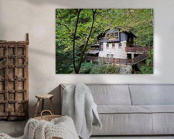 de Amselfallbaude in het bos bij het dorp Rathen in het Elbsansteingebirge van Heiko Kueverling