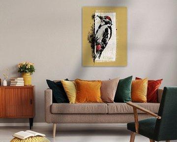 Jungtier eines Buntspechtes, Zeichnung von Lida Bruinen