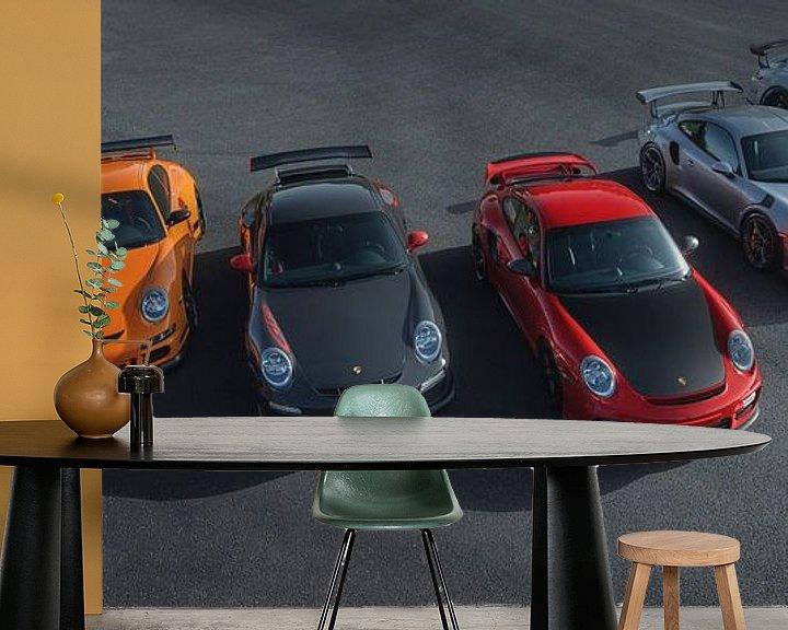 Sfeerimpressie behang: Porsche RS Line Up van Gijs Spierings