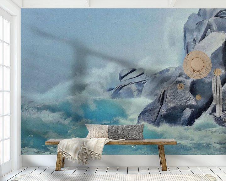 Sfeerimpressie behang: De Fallusrots in Grote Schuimende Golven - Sardinië - Capo Testa - Schilderij van Schildersatelier van der Ven