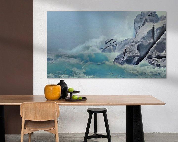 Sfeerimpressie: De Fallusrots in Grote Schuimende Golven - Sardinië - Capo Testa - Schilderij van Schildersatelier van der Ven