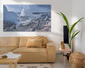 Natuur - Beukende Golf bij Rotsachtige Kust - Sardinië - Capo Testa - Schilderij