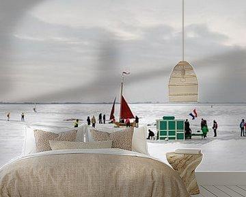Oud-Hollands wintertafereel met schaatsers, koek en zopie en ijszeilers op de Gouwzee van Lex van den Bosch