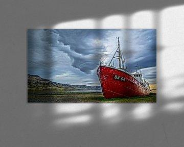 Gestrand schip, Patreksfjörður, IJsland van Nico  Calandra